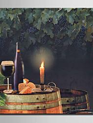 E-HOME® Stretched LED Canvas Print Art Wine Feast LED Flashing Optical Fiber Print One Pcs