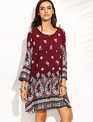 HOT! M-2XL Plus Size Women's Going out Casual/Daily Sexy Boho Loose DressPrint Round Neck Above Knee  Sleeve Polyester Summer