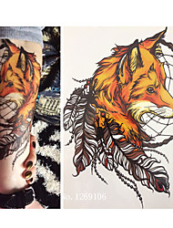 cheap -21 X 15 CM Yellow Fox and Feather Cool Beauty Tattoo Waterproof Hot Temporary Tattoo Stickers