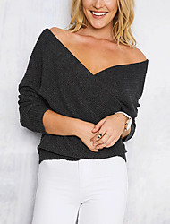 Women's Going out Casual/Daily Simple Street chic Regular Pullover,Solid White Beige Black Brown Gray V Neck Long Sleeve PolyesterSpring