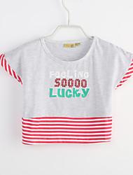 billige -Pige T-shirt Daglig Stribet Farveblok, Bomuld Sommer Kortærmet Grå