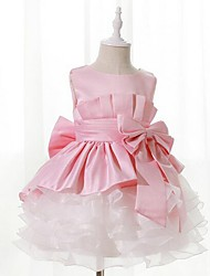 cheap -Girl's Solid Patchwork Dress,Polyester Summer Sleeveless Lace Bow Blushing Pink
