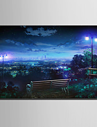 cheap -E-HOME Stretched LED Canvas Print Art Overlooking The City At Night LED Flashing Optical Fiber Print One Pcs
