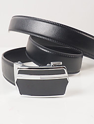 Men's casual fashion black leather automatic buckle belt body is about 3.6 cm wide