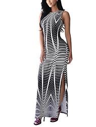 Femme fines rayures Moulante Robe Décontracté/Quotidien Vintage,Imprimé Col Arrondi Maxi Sans Manches Noir Polyester Eté Taille Normale