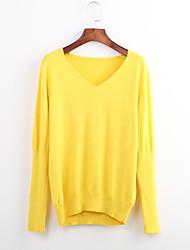 billige -Dame Bomuld Pullover - Ensfarvet V-hals