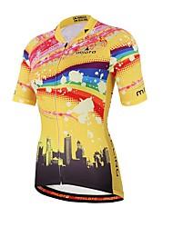 abordables -Miloto Unisexe Manches Courtes Maillot de Cyclisme - Jaune Cyclisme Maillot Hauts / Top, Anti-transpiration Coolmax® / Elastique
