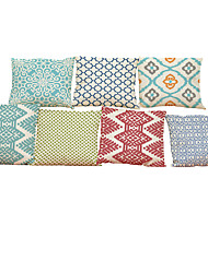 cheap -Set of 7 Geometric pattern Linen  Cushion Cover Home Office Sofa Square  Pillow Case Decorative Cushion Covers Pillowcases