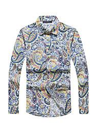 Men's Casual/Daily Beach Holiday Simple Boho All Seasons Shirt,Print Shirt Collar Long Sleeve Blue Red Yellow Cotton Rayon Thin