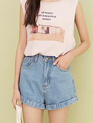 Sign Korean version of the retro high waist denim shorts female was thin curling denim wide leg pants AA
