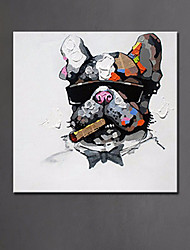 cheap -Modern Animal Oil Painting Cool Smoking Dog Pure Hand Painted Abstract Dog Canvas Painting Ready Made Frame
