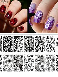 preiswerte -Blume Thema Nagelkunst Stempelplatte rctangular Platten Prägeschablonenbild geboren ziemlich bp-l024 12,5 x 6,5 cm