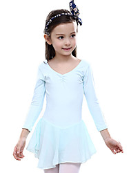 cheap -Ballet Dresses Children's Training Cotton Ruffles 1 Piece Long Sleeve Natural Leotard