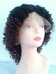короткий курчавый вьющиеся волосы парики # 6/27 каштановый ломбера фронта шнурка средний парик шнурка для черной женщины кудрявые волны