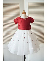 Princess Knee Length Flower Girl Dress - Taffeta Scoop Neck by thstylee