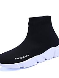 Недорогие -Для женщин Спортивная обувь Удобная обувь Тюль Весна Осень Для прогулок Шнуровка На плоской подошве Черный Менее 2,5 см