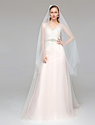 A-Line V-neck Court Train Tulle Wedding Dress with Beading Appliques Sash / Ribbon Button by LAN TING BRIDE®