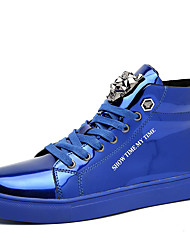 Da uomo-Sneakers-Casual-Comoda-Piatto-Vernice-Blu Rosso