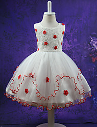 Girl's Print Dress,Polyester Summer Sleeveless Floral Bow White Red Purple