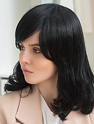 parrucca eleganti frangia parziali capelli lunghi neri glamour capelli umani