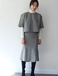 Korean Shopping spring models chic houndstooth short-sleeved + package hip fishtail skirt split false