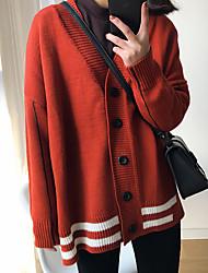 cheap -Women's Daily Wear Classic & Timeless Regular Cardigan,Stripe V-neck Long Sleeves N/A Spring Fall Medium Stretchy