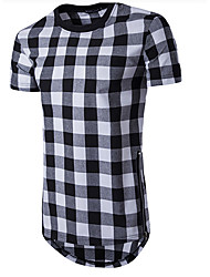 cheap -Men's Sports Cotton T-shirt - Solid Colored / Plaid Round Neck / Short Sleeve / Long