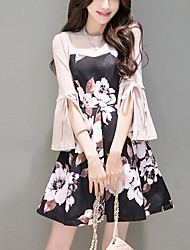 Women's Flare Sleeve Going out Simple A Line Dress,Floral Round Neck Above Knee ½ Length Sleeve Polyester Black Spring Summer Mid Rise Micro-elastic