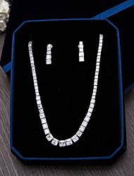 Bijoux 1 Collier 1 Paire de Boucles d'Oreille Zircon cubique Mariage Soirée Occasion spéciale Quotidien Décontracté Zircon 1set Argent