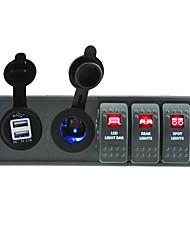 DC 12V/24V LED Digital 3.1A USB power Socket with toggle rocker switch jumper wires and housing holder