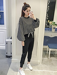 Sign 2017 spring new Women Korean loose big lantern sleeve stripe round neck sweater fashion tide