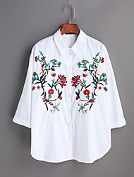 Women's Casual/Daily Work Simple Spring Summer T-shirt,Embroidered Shirt Collar Long Sleeves Cotton