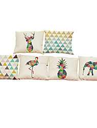 "Set of 6 Geometric Animal Linen Cushion Cover Without Insert(18""*18"")"