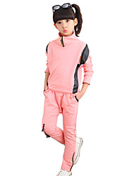 Girl's Going out Casual/Daily Sports Patchwork Cotton Spring/Fall Long Sleeve Blouse Pant 2 Piece Clothing Set Children's Garments