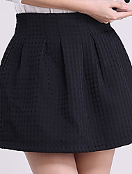 Women's Plus Size A Line Solid Jacquard Skirts,Going out Casual/Daily Simple Cute High Rise Above Knee Zipper Others Micro-elastic Summer