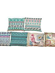 abordables -6 PC Lino Cobertor de Cojín Funda de almohada,Sólido Con Texturas Geométrica Tradicional/Clásico Reforzar Estilo playero