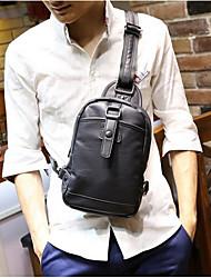 cheap -Men Bags PU leatherette Sling Shoulder Bag Zipper for Casual Fall Black