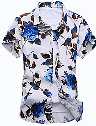 cheap -Men's Beach Cotton Slim Shirt - Floral Classic Collar