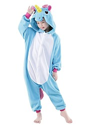 cheap -Kigurumi Pajamas Unicorn Onesie Pajamas Costume Flannel Toison Blue Cosplay For Kid Adults' Animal Sleepwear Cartoon Halloween Festival /