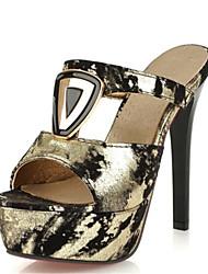 Women's Sandals Summer Club Shoes Novelty Velvet Customized Materials Party & Evening Dress Casual Stiletto Heel Rivet  Black Gold