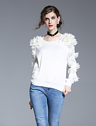 FRMZ Women's Going out Simple Spring Summer ShirtSolid Round Neck Long Sleeve White Polyester