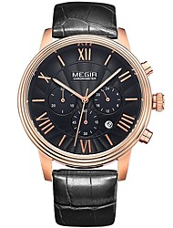 cheap -MEGIR Men's Quartz Wrist Watch Skeleton Watch Sport Watch Calendar / date / day Genuine Leather Band Charm Casual Dress Watch Fashion