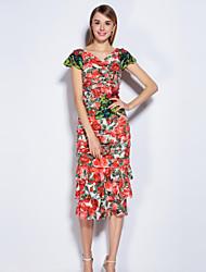 Gaine Robe Femme Sortie Mignon,Fleur Col en V Midi Manches Courtes Rouge Polyester Spandex Printemps Eté Taille Normale Micro-élastique