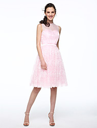 Ball Gown Jewel Neck Knee Length Chiffon Lace Bridesmaid Dress with Lace Sash / Ribbon Pleats by LAN TING BRIDE®