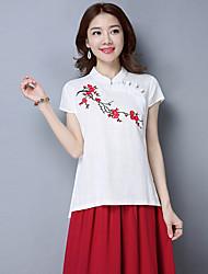 2017 neue original chinesischen Stil Frauen&# 39; s Platte knöpft Baumwolle Kurzarm-Shirt bestickt ethnischen Stil