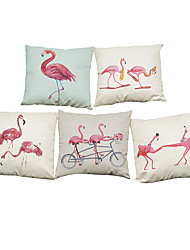 Set of 5 Movement Flamingos  pattern Linen Pillow Case Bedroom Euro Pillow Covers 18x18 inches  Cushion cover