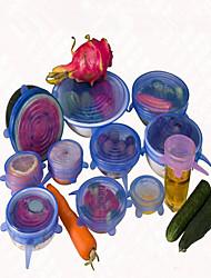 Недорогие -6 шт / комплект крышка универсальный силикон Саран еды горшок простирания крышка силикона кастрюли вакуума кухни крышка Герметик случайный