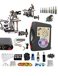 Complete Tattoo Kit S023G2A3A8 2 Machines Liner & Shader Mini Power Supply Ink Cups
