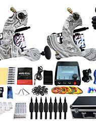 Kit completo per tatuaggi 2 x tatuaggio macchina in lega per il rivestimento e l'ombreggiatura 2 Macchinette per Tatuaggio LCD