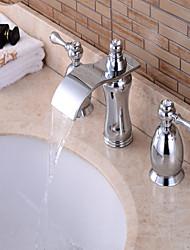 economico -Contemporaneo A 3 fori Cascata with  Valvola in ottone Tre Manici Tre fori for  Cromo , Lavandino rubinetto del bagno